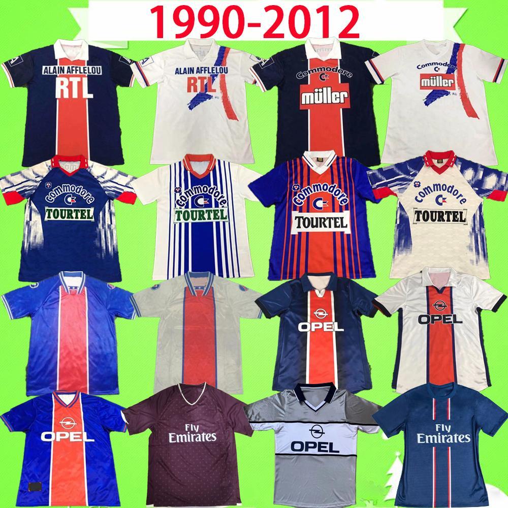 PSG jersey 1990 1991 1992 1993 1994 ريترو Maillots دي كرة القدم RAT GUERIN باريس لكرة القدم جيرسي 93 94 منزل الأزرق بعيدا أبيض الكلاسيكية قميص كرة القدم خمر أعلى جودة
