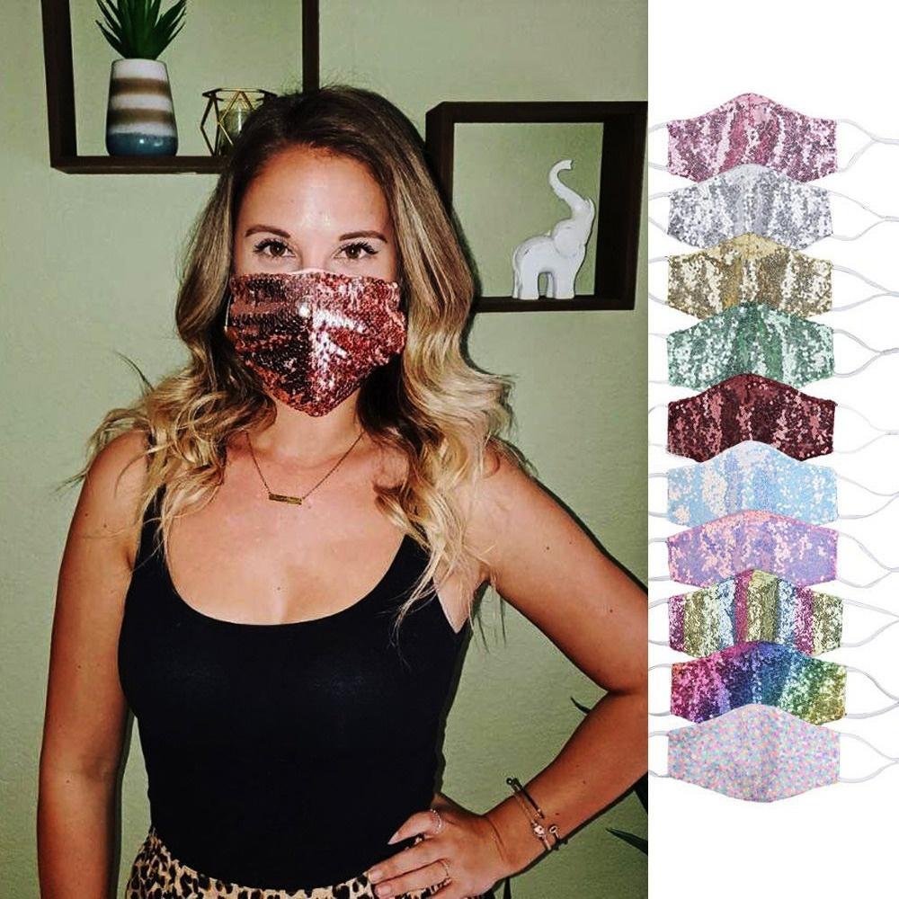 Moda Bling Bling Face Mask Maschera Lady Colorful Personality Polvere Impolverata Paillettes Traspirante Maschera protettiva Nuove maschere in bicicletta riutilizzabili