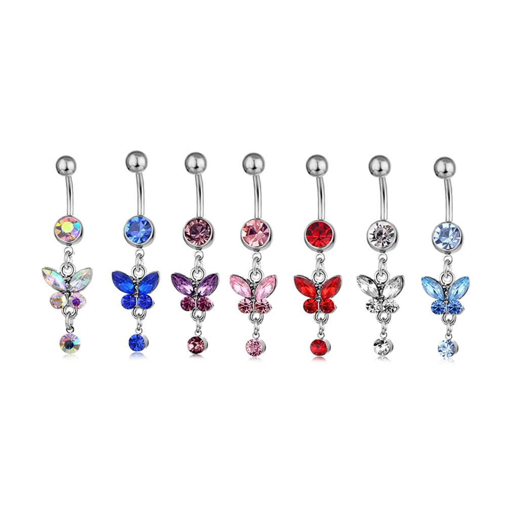 D0347( 6 colors ) mix colors Belly Button Navel Rings Body Piercing Jewelry Dangle Accessories Fashion Charm Butterfly 20Pcs/Lot