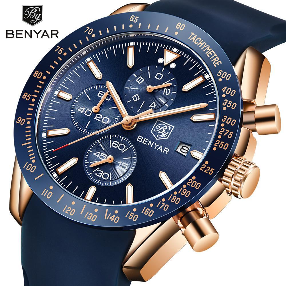 Benyar 5140 남성용 손목 시계 정품 실리콘 스트랩 시계 완벽한 석영 운동 방수 및 스크래치 방지 아날로그 크로노 그래프 비즈니스 시계