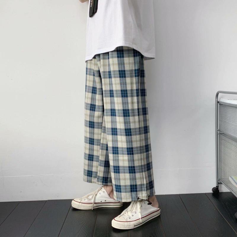 Pantaloni da uomo Pantaloni da donna estate e autunno sottile nero nero plaid plaid coreano allentato casual casual gambe larghe