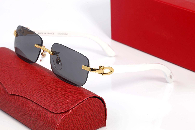 Moda Ahşap Güneş Gözlüğü Erkek Spor Unisex Buffalo Boynuz Gözlük Erkekler Kadınlar Çerçevesiz Gözlükler Metal Çerçeve Renkler Woods Bacaklar Gözlük Lunettes