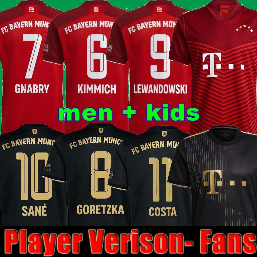 21 22 Player Version Bayern Munich Soccer Jerseys Away Black 2021 2022 Men + Kids LEWANDOWSKI KIMMICH MULLER PAVARD Sane Gnabry Football Shirts