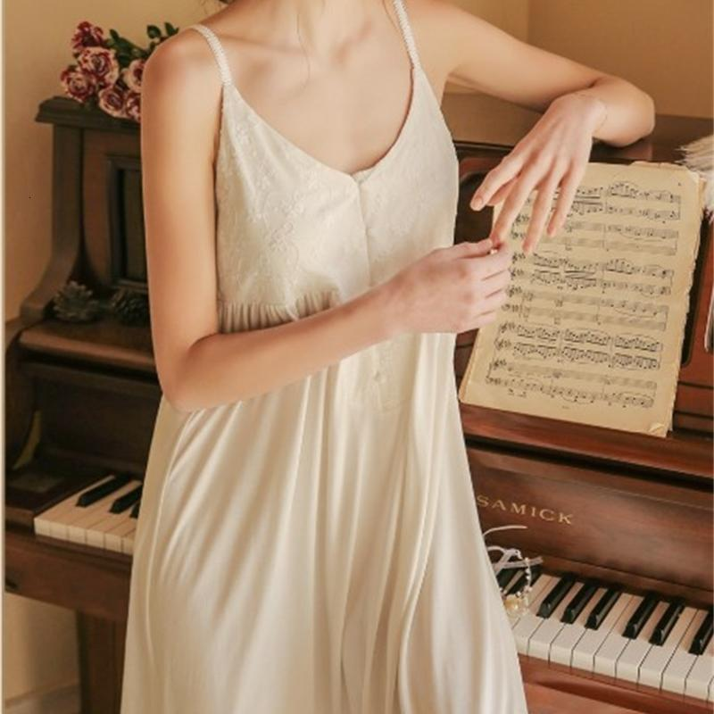 Mulheres Sleepwear Sexy Nightgown Mulheres V-Pescoço Magro Camisola Feminina Verão Sling Princesa Night Dress Mulheres Sleepwear Nightwear EQS5