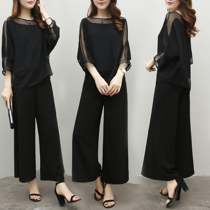 Two Piece Dress Wide Leg Pant Suits For Mother Of Bride Solid Black Color Chiffon Pantsuits Elegant Formal Wedding Office Ladies Spring Summ