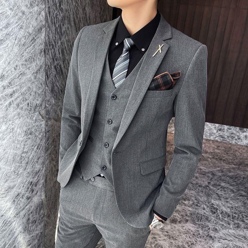 Passt Herren Koreanische dünne Jugendanzug Bräutigam Hübsche Hochzeitsgeschäfte Casual Kleid Mode