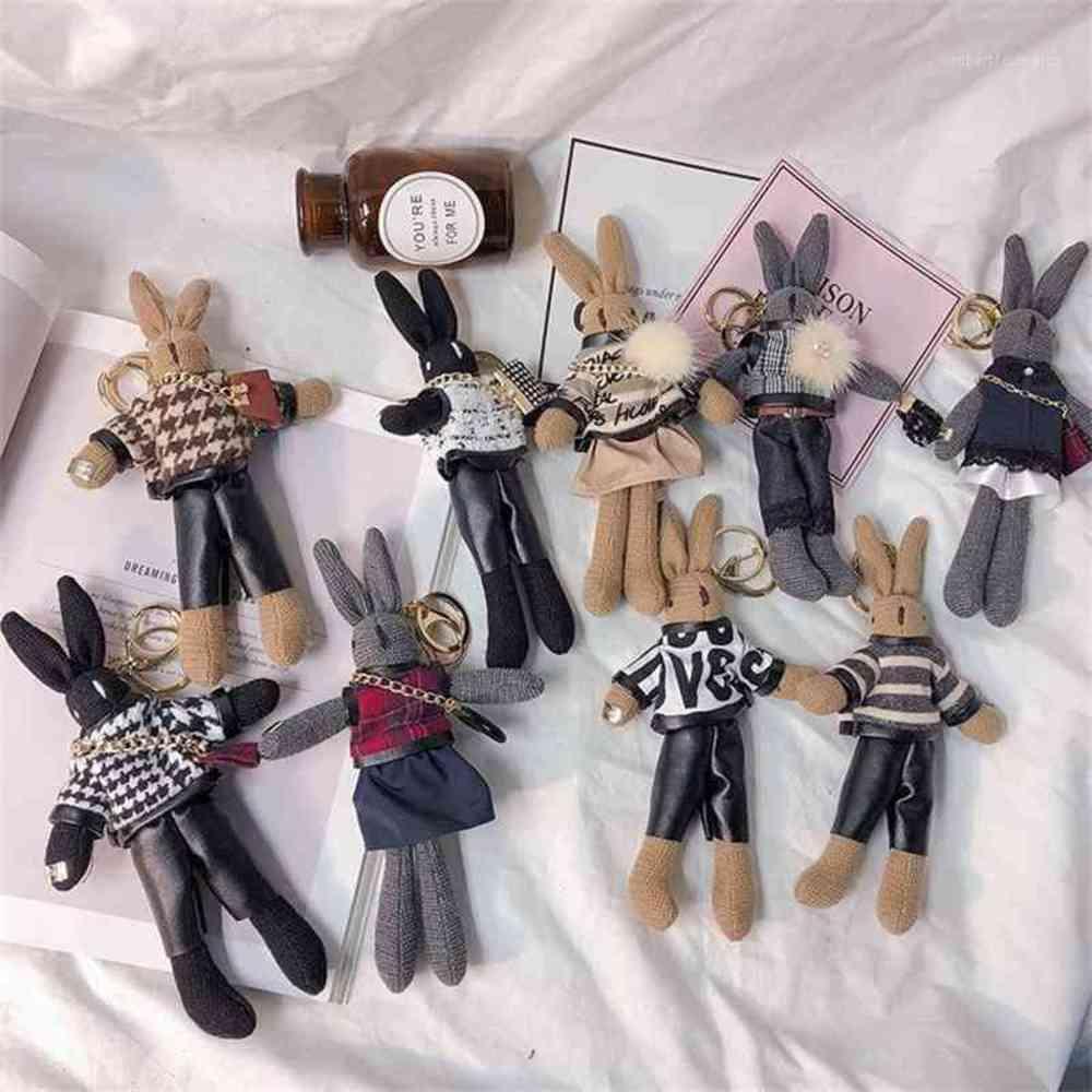 2020 Fashion Cute Pluff Keychain Rex Genuine Fur Key Chains For Women Bag Toys Doll Pom Lovely Pompom Keyring1