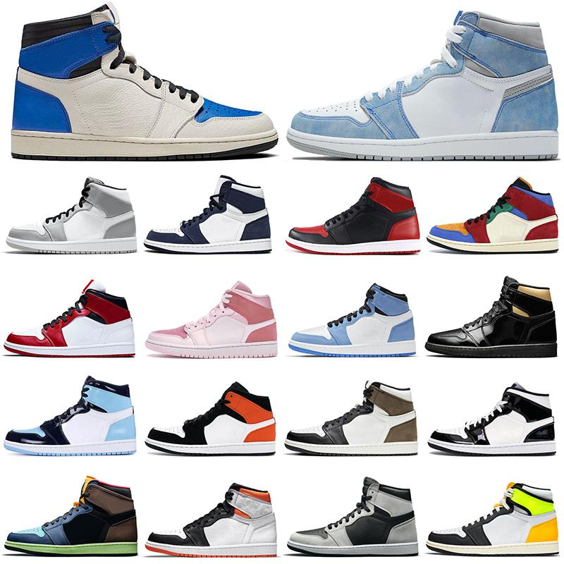 Air Jordan 1 الرجعية 1 ثانية أحذية كرة السلة الرجال النساء الجامعة الأزرق المحكمة الأرجواني hyper الملكي unc الظل الدخان رمادي jumpman المدربين رياضة رجل إمرأة