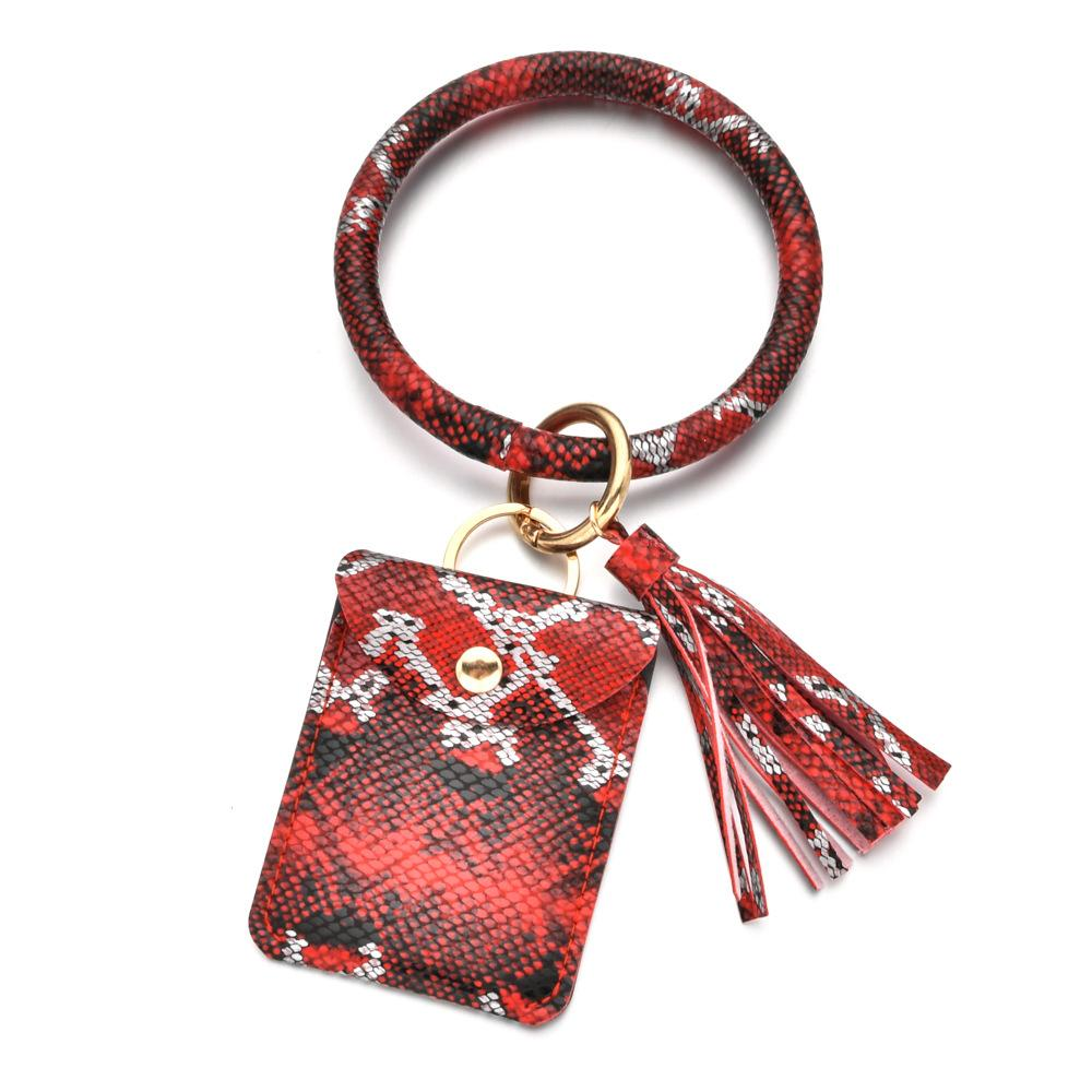 Anahtar Yüzükler Anahtarlıklar Moda Yılan Cilt Baskı PU Deri Püskül Bilezik Anahtarlık Basit ve Kişiselleştirilmiş Vahşi Değişim Tutucu KIMLIK KART Kart Çanta Toka Bilezikler Tutun