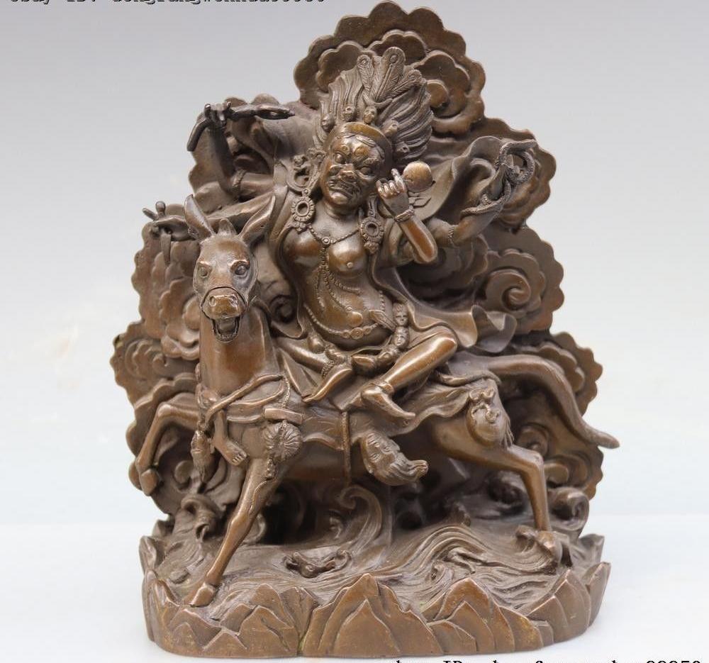 التبت البوذية النقي البرونز النحاس بالعدين لوهامو إلهة بوذا ركوب الخيل تمثال