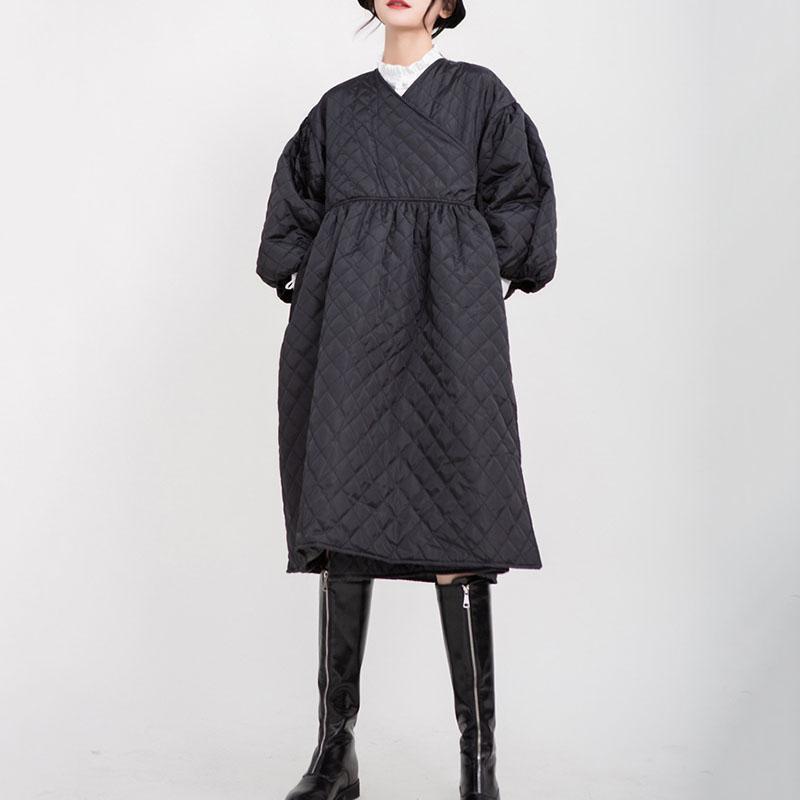 فساتين عادية seeheautiful كبيرة الحجم اللباس الخامس الرقبة فانوس كم خياطة المرأة بسيطة الصيف 2021 المد الأزياء T749