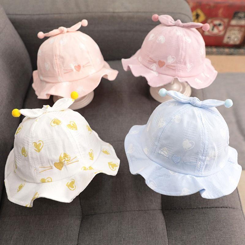 Baby Cute Outdoor Kids Beach Caps Cotton Summer Casual Print Sun Hat Bucket Beanie Heart Children Panama Headwear Wide Brim Hats