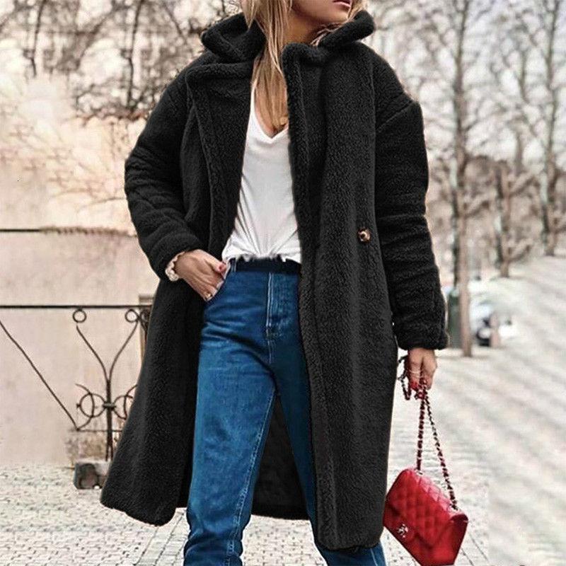 Flauschige lange Faux Pelzmantel Frauen verdicken Winter Gefälschte Pelz Streetwear Schwarz Mantel Weibliche Mode Streetwear Cardigan Oberbekleidung