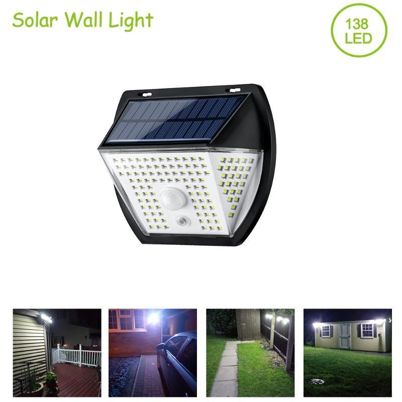 벽 빛 138 LED 태양 방수 와이드 앵글 스트리트 정원 장식 램프 3 모드 센서 조명