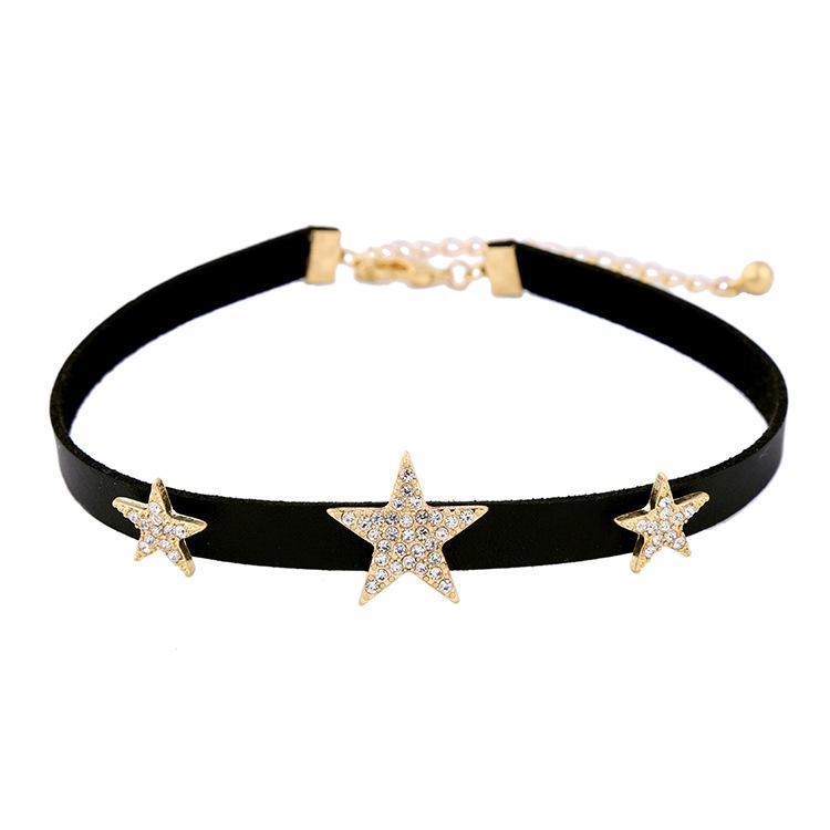 Black Choker Halskette Crystal Stars Maxi Halsketten für Frauen Design Modeschmuck Zubehör Chokers