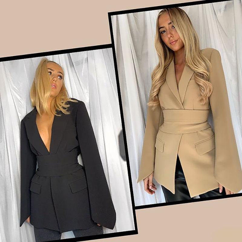 Trajes famosos de diseñadores Señoras Cardigan Cordonas Cintura Lapelación Slim Fit Fit Spring