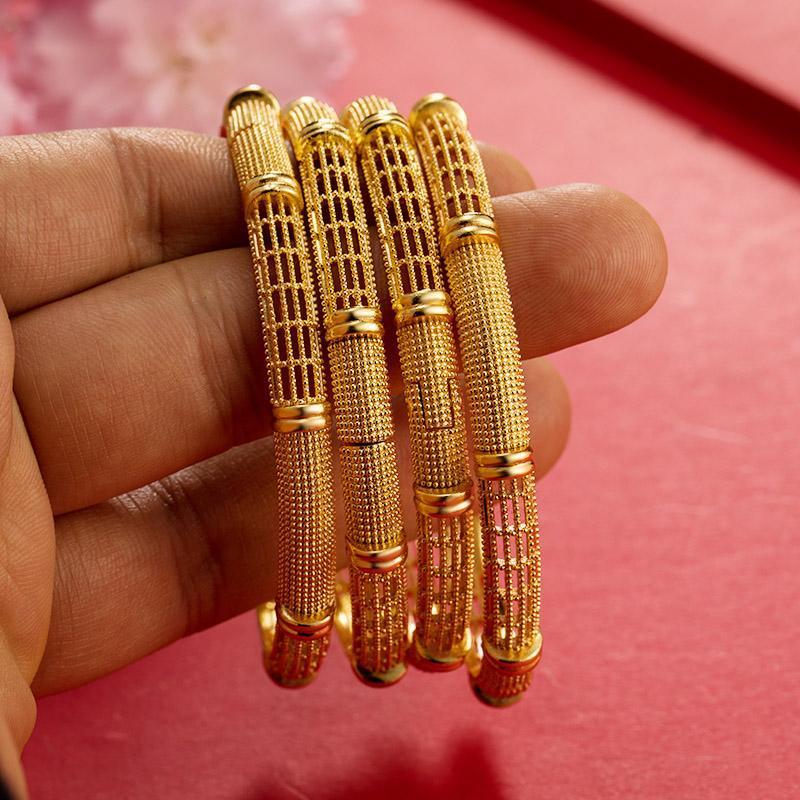 Kadınlar için 1-4 adet Afrika 24 K Altın Renk Bilezikler Kızlar Düğün Hediyeleri Suudi Arabistan, Orta Doğu Bileklik'te Ramazan Açabilir