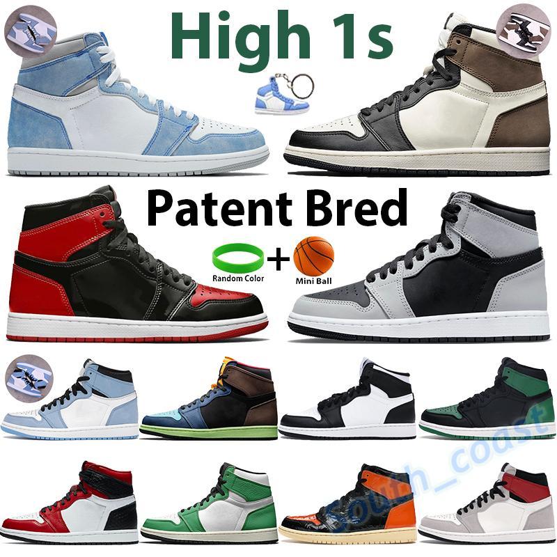 2021 homens basquete sapatos prata toe alto escuro mocha 1 1s tênis sneakers UNC Patent Twist Universidade azul sombra luz fumar cinza chicago sports treinadores