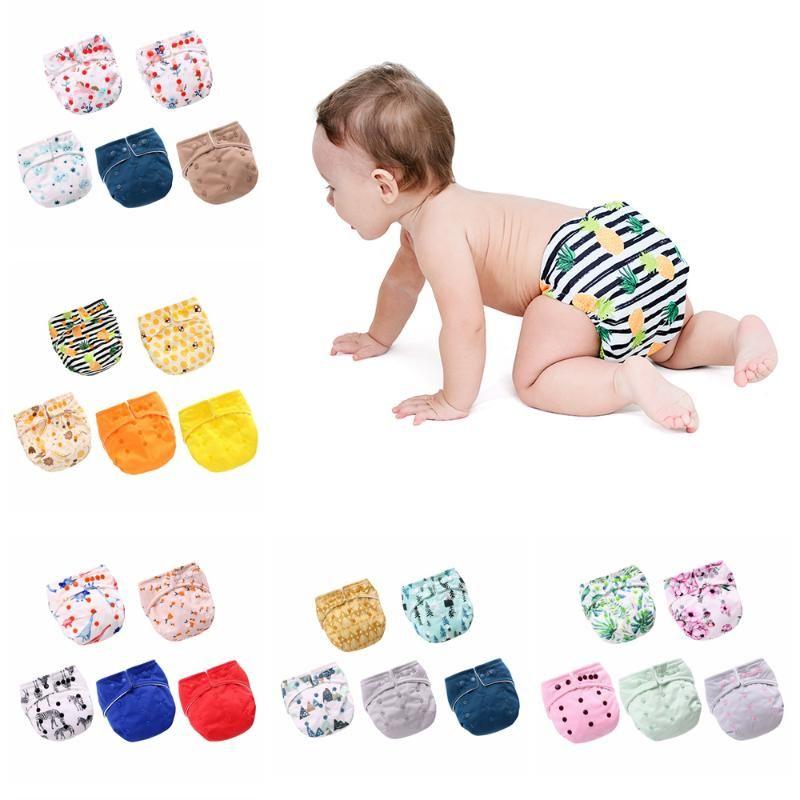 Pañales de tela Lavable Reutilizable Bebé Bolsillo Ajustable Pantalones cortos para bebés Ropa interior Pantalones de entrenamiento Nacido Napf Cambiando 5 Pack