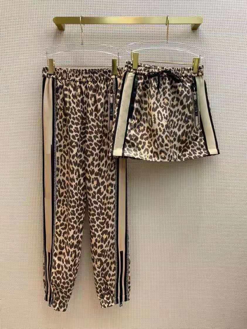 여성 트랙 캐주얼 바지 트라우즈와 반바지 바지를위한 바지 슬림 스타일 outwears 높은 허리 스포츠 카프리 문자 레오파드 인쇄
