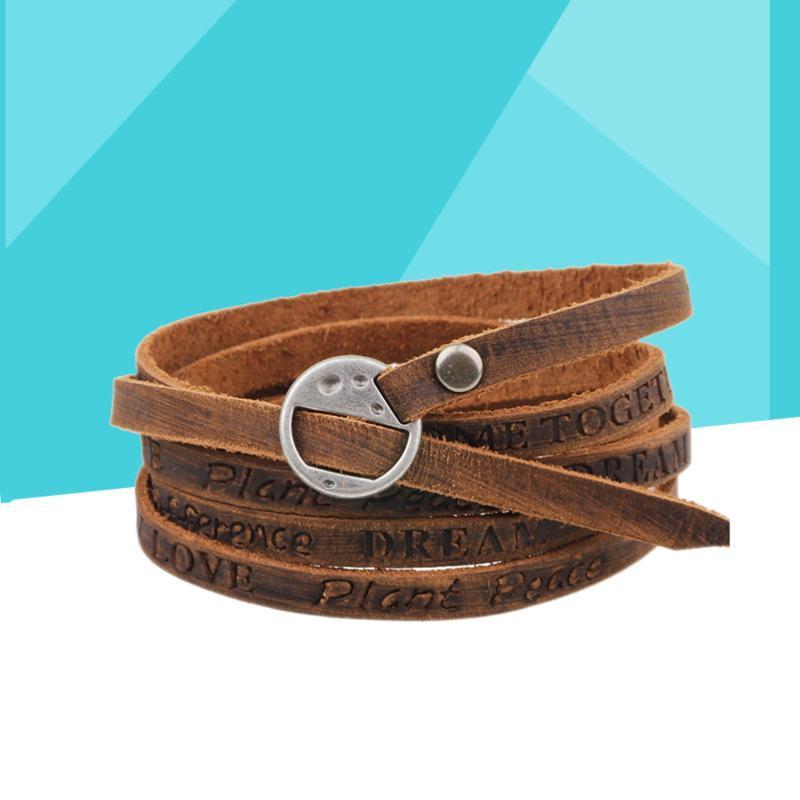 Leather Bracelet Wrap Vintage Wristband Cuff For Kids Boys Men Charm Bracelets