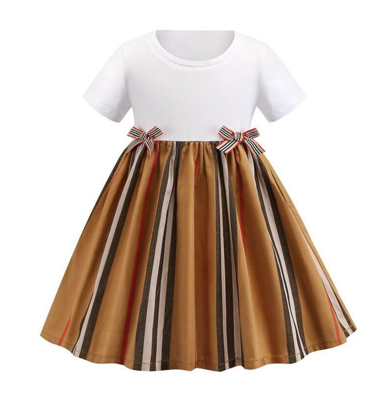 Summer Girls Princesse Robe Fashion Enfants Robes à manches courtes en coton Jupes à rayures Enfants Jupe Veste enfant
