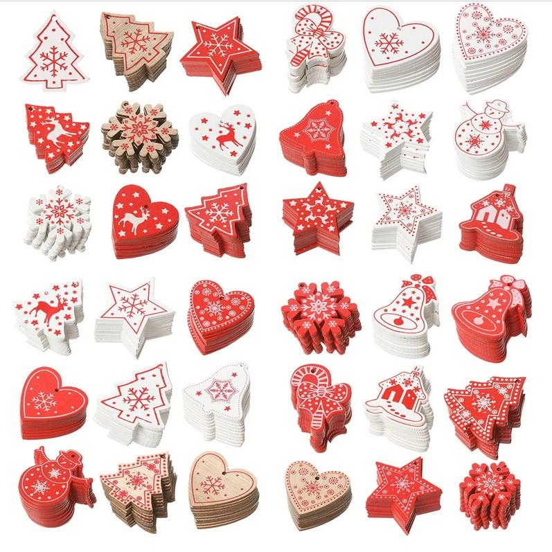 붉은 나무 자연 나무 크리스마스 장식품 장식 펜 던 트 나무 크리스마스 트리 심장 별 눈 플라워 벨