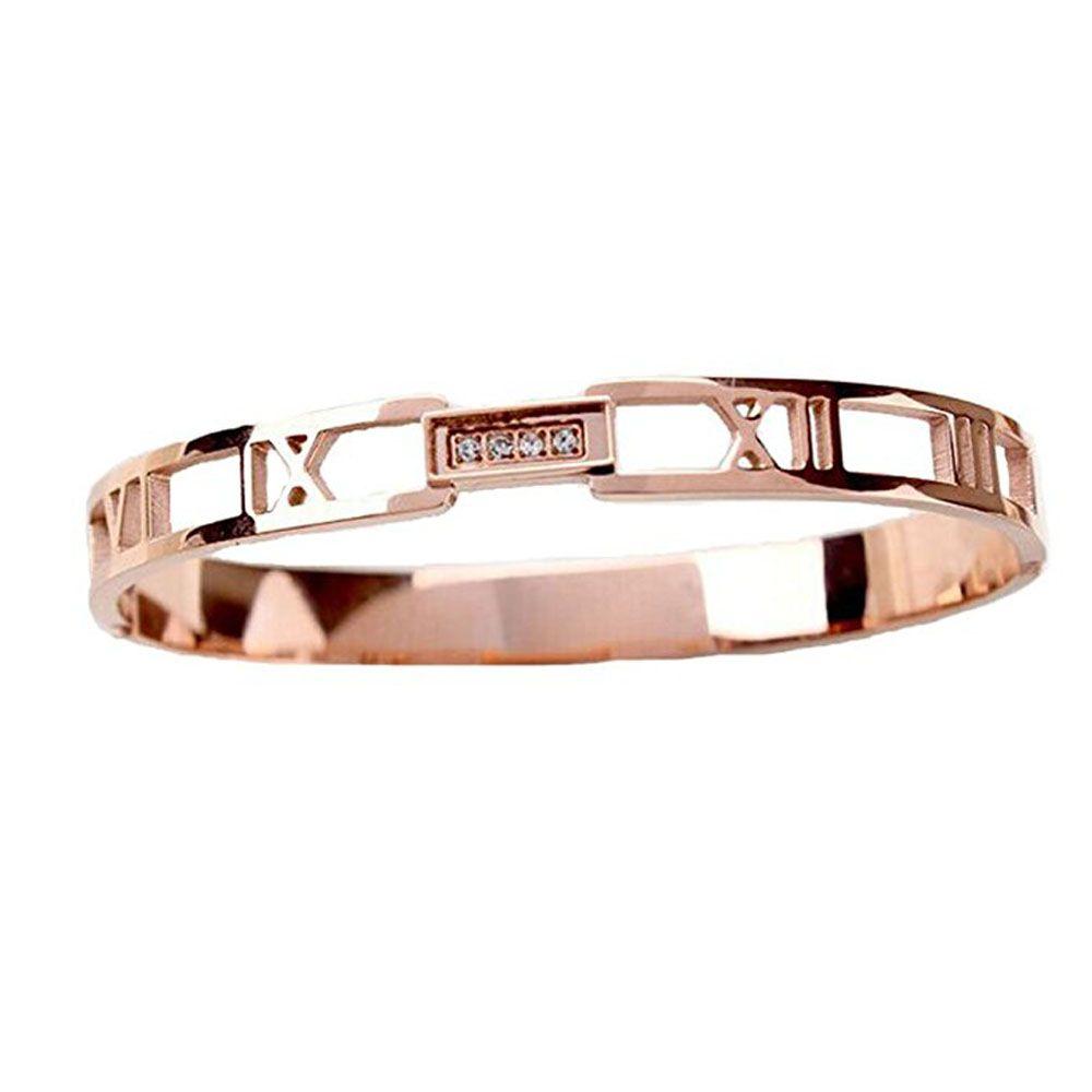 Vrac (6pieces / Lot) Rose Gold Couleur Bijoux Numéraux romains Femmes Bouffon Bracelet CNC Zircon 7mm Largeur en acier Titane Fabricant