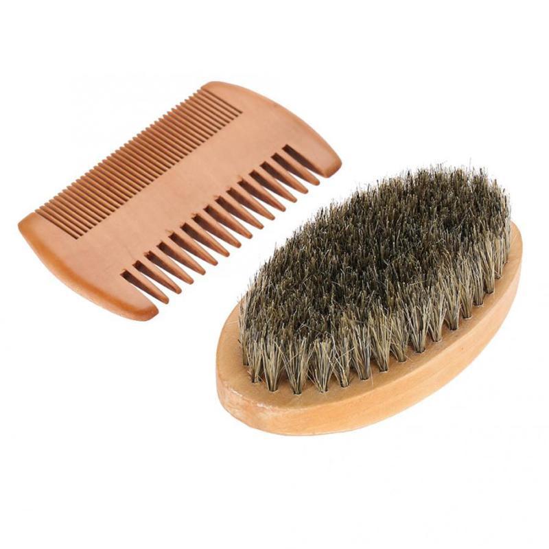 Erkekler Yaban Domuzu Kuyruk Sakal Bıyık Tarak Saç Fırçası Ahşap Kolu Styling Yüz Tarak Fırçalar Için Detangling Düzleştirici