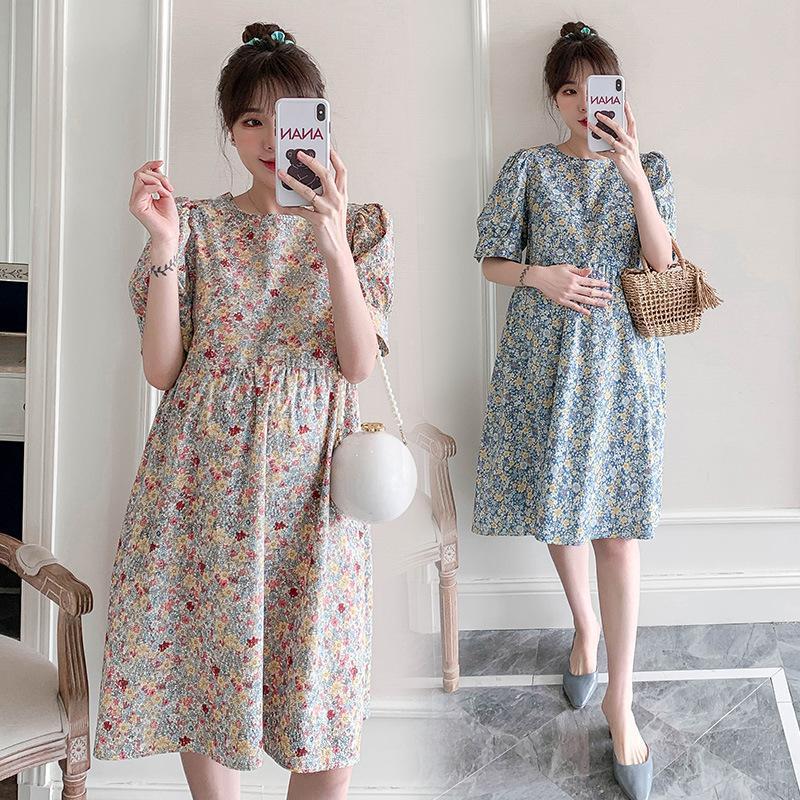 출산 스커트 여름 피크닉 착용 한국 스타일 꽃 달콤한 드레스 드레스