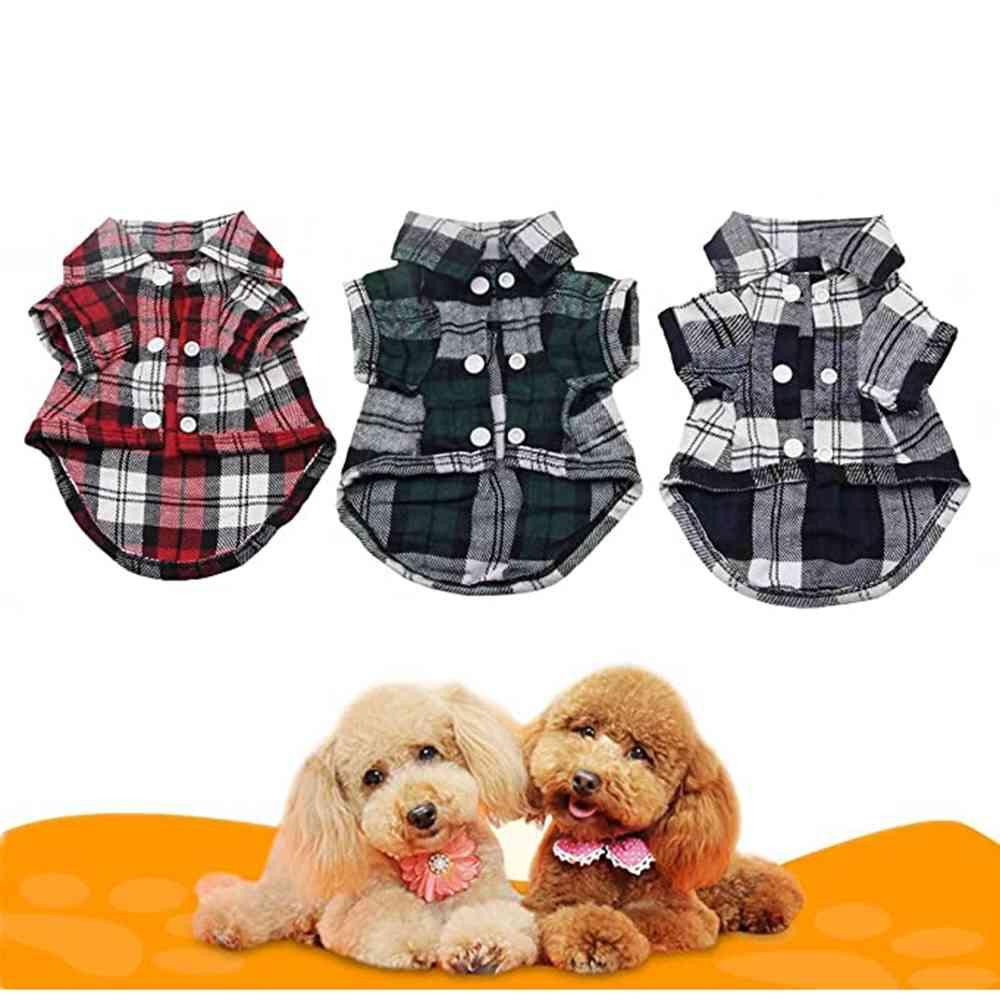 Dog Supplies vest Fashion Japanese Style Pet Dogs Plaid Shirt Coat Clothes Spring Summer Cotton Shirt for Puppy Cats Apparel