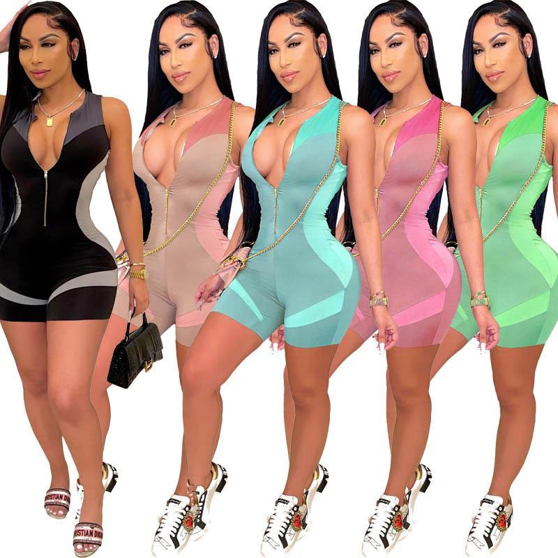 Женские моды без рукавов комбинезоны сексуальные тонкие печатные скинни V шеи молнию один кусок жилет Biker шорты Rompers Bodycon Bodysuits jogging плюс размер одежды