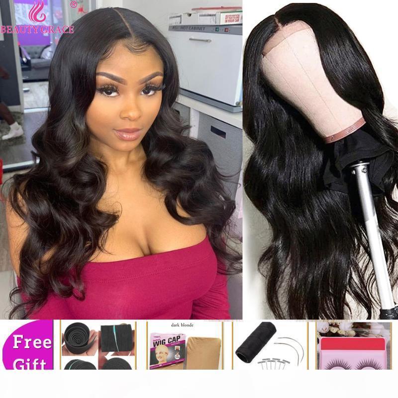 Beauty Grace Brace 4x4 Человеческие Волосы Парик Волны Кружева Закрытие Парик Плотность 150% Перуанские Реми Волосы Кружева волос 10-26 дюймов Предварительно