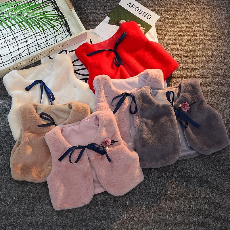 Baby Weste Weste Faux Pelz Baby Weste Schal Kinder Winter Outwear Mode Boutique Baby Kleidung 7 Farben Optional 3263 Q2