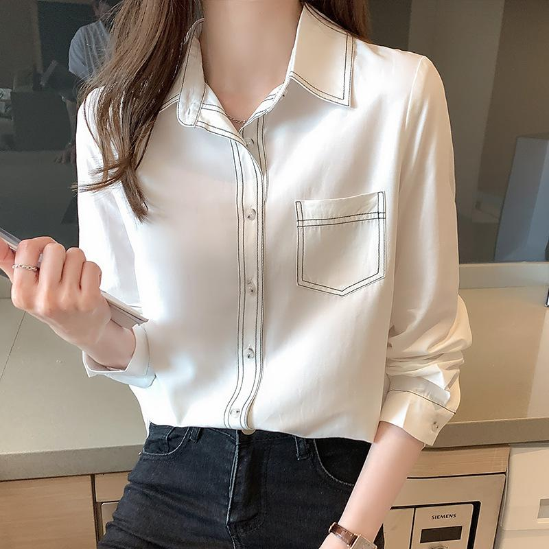 Línea de contraste Camisa blanca diseño de mujeres Niche 2021 Primavera versátil de manga larga arriba