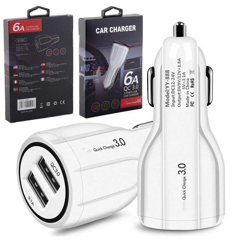 عالمي 5 فولت 2.4a المزدوج USB منافذ السيارات شاحن السيارات محول الطاقة لسامسونج S8 S10 HTC