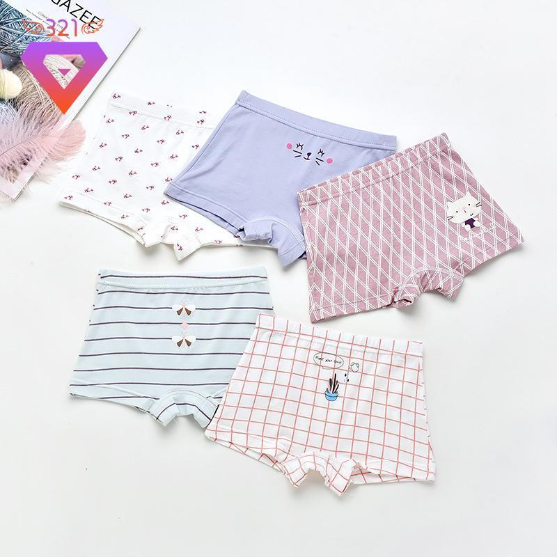 Calcinha 5 pçs / lote crianças algodão meninas cute quadrado impresso bebê crianças cueca cuecas suaves pantie para