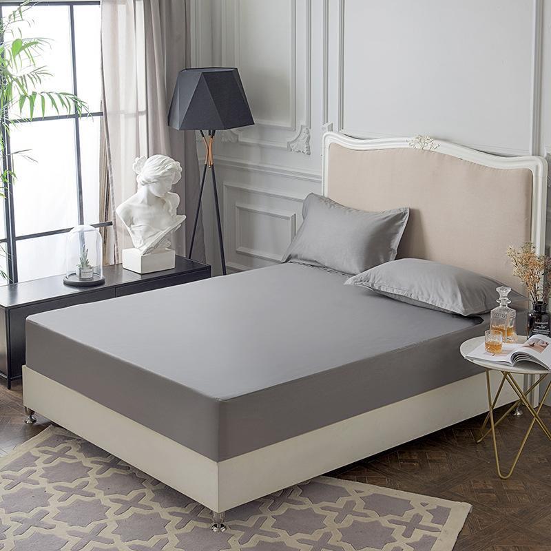 Conjuntos de lençóis com banda elástica 1 pcs chapa de colchão de chapa de quatro cantos 100% algodão cama sólida protetor impermeável