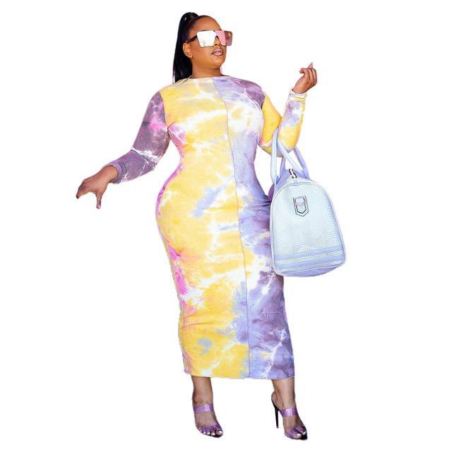 Plus Size 4XL 3XL TINE O-Neck Tie Type Stampato Abito a maniche lunghe stampato Abbigliamento autunno Casual Abbigliamento per donna 2022 Abiti da caduta Abiti vintage