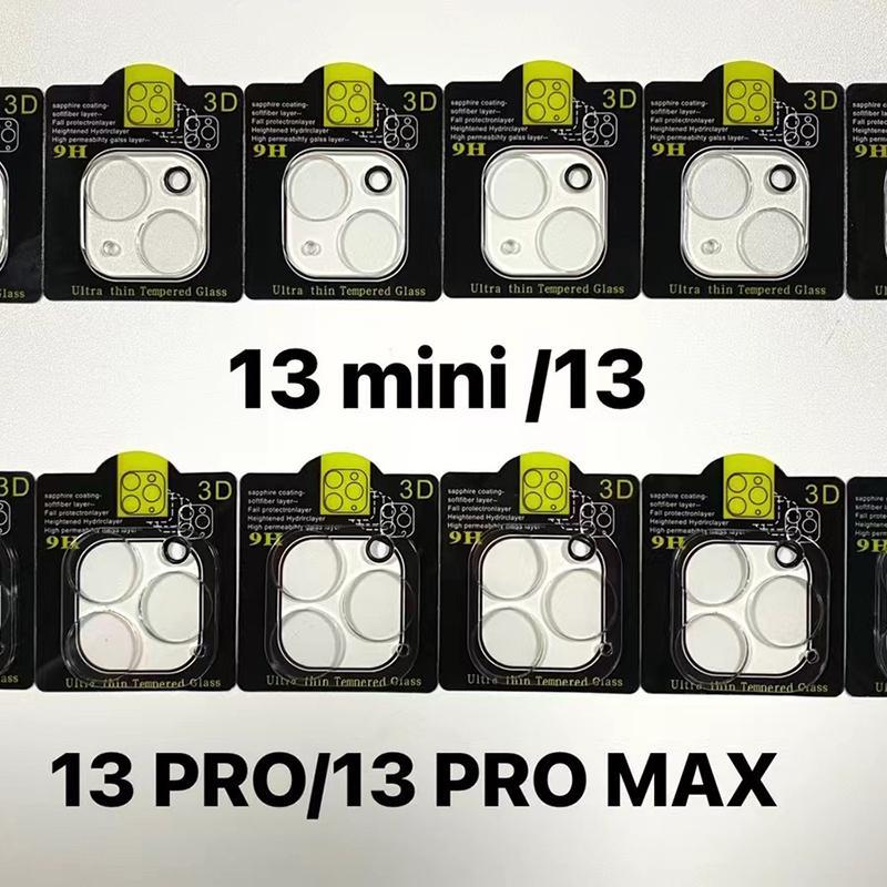3D Şeffaf Çizilmeye Dayanıklı Arka Kamera Lens Koruyucu Koruyucu Temperli Cam Ile Flaş Daire Ile iPhone 13 12 Mini 11 13 Pro Max