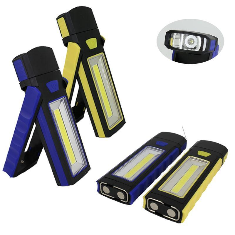 Portable COB LED Work Light Inspection Lamp Magnetic Torch Folding Hook Hand Tool For Garage Outdoors Camping Sport Flashlights T Torches