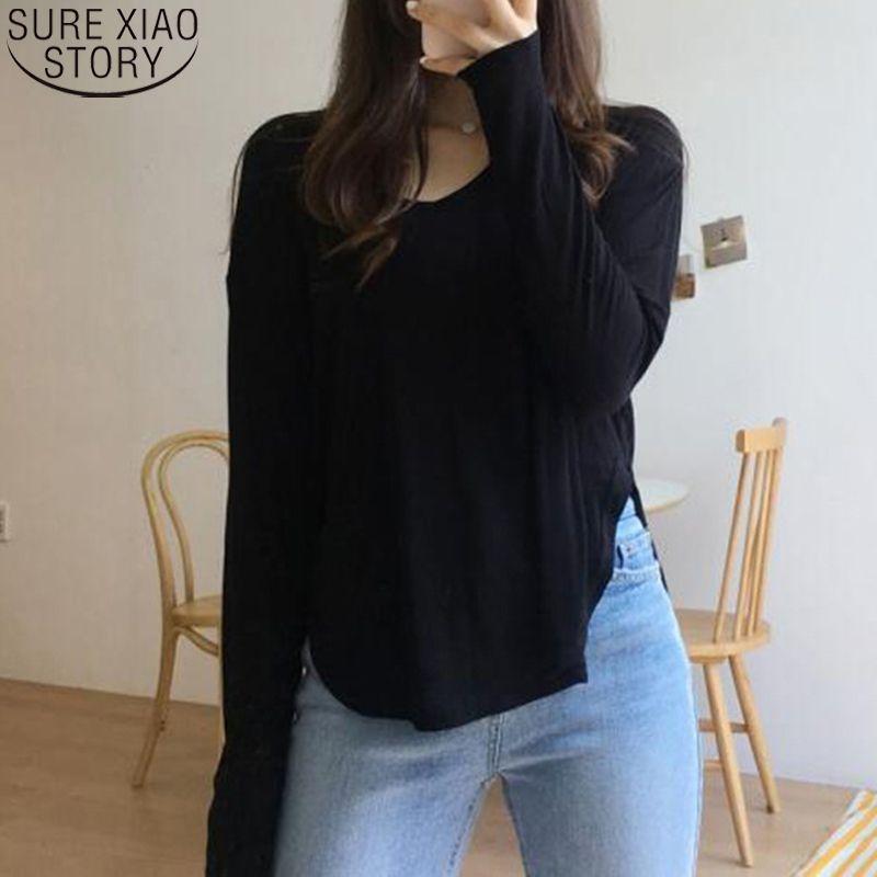 Dünn V Kragen Solid Split Langarm T-Shirts Koreanische Damenmode Baumwolle T-Shirts Frühling und Herbst Freizeit Frauen Tops 12184 210512