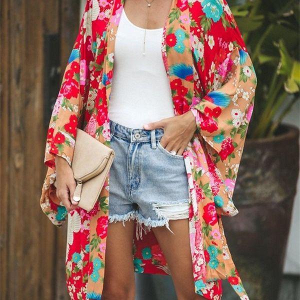 Nuevo estilo 2020 para mujer manga larga bohemio floral casual suelto blusa larga kimono cárdigan largo flejo fleve impresión fina camisa x0521