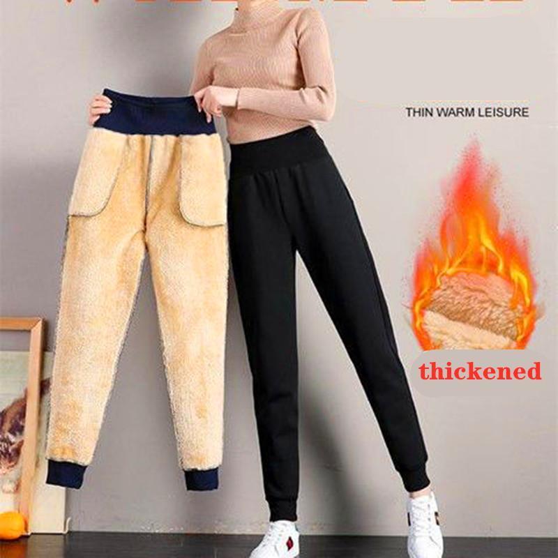 Kadın Pantolon Capris 2021 Kadın Kış Kuzu Kürk Kaşmir İnce Rahat Sıcak Harem Kalın Çizgili Polar Sweatpants Pantolon 5XL