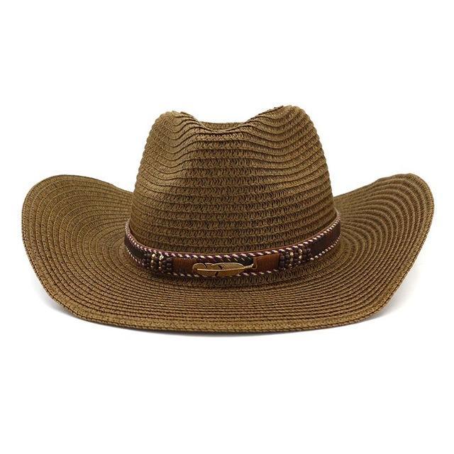 Chapeau de cow-boy occidental pour femmes chapeau de paille avec perles en alliage de plumes d'été Beach Cap Panama chapeau