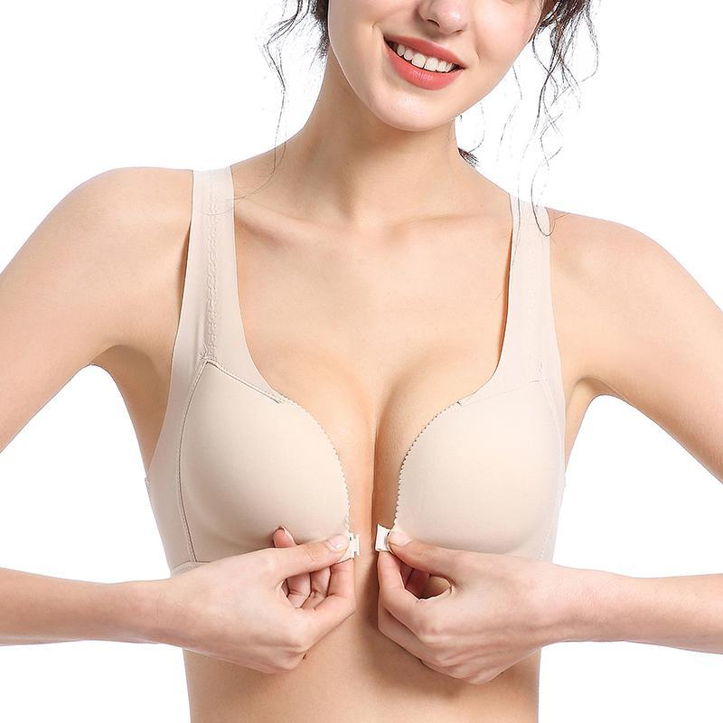 Bras Wireless Push Up Sexy Lingerie Solid Color Front Buckle Underwear Seamless Female Small Chest Bra