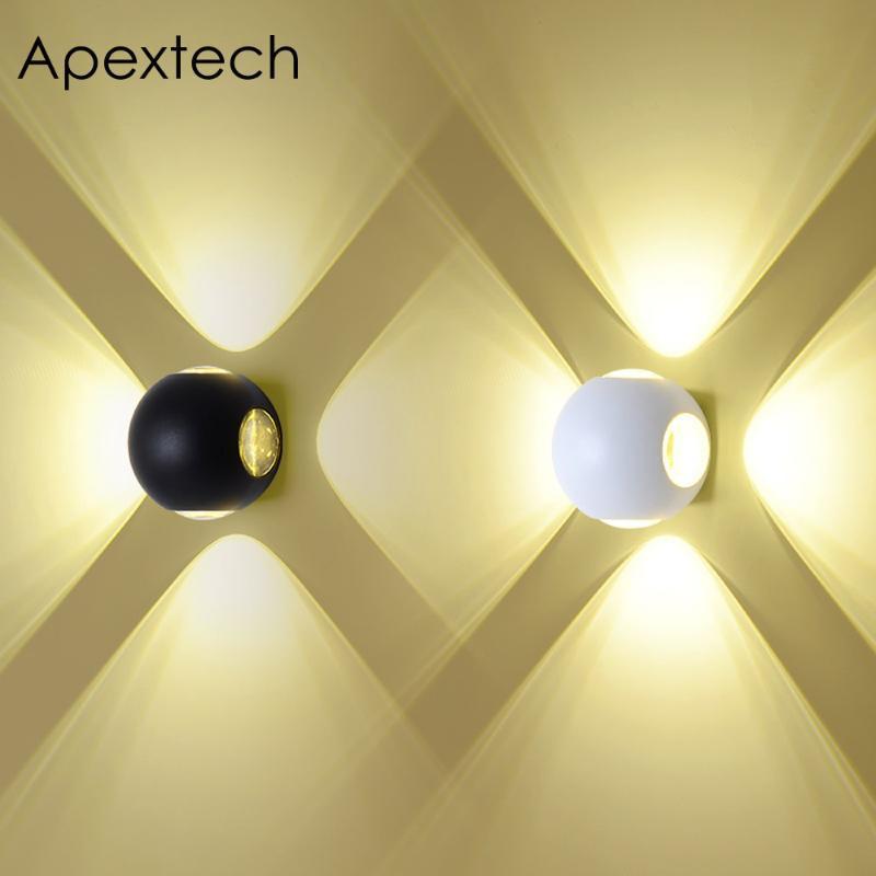 مصابيح الجدار في الهواء الطلق Apextech Cree Cree LED مصباح 12W الكرة على شكل مصباح نورديك نورديك، استوديو، الديكورات المنزلية