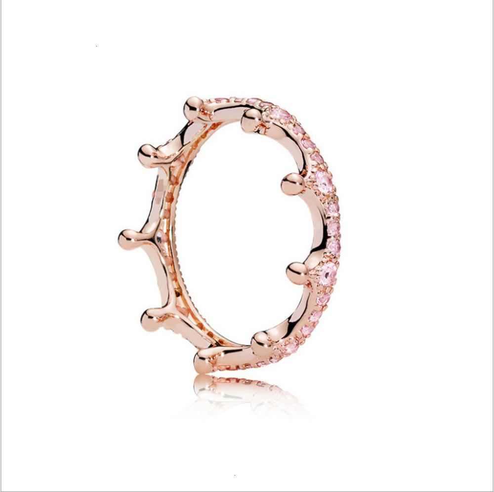 2021 designers fashion 925 silver Pandora rose gold shining magic crown to heart female ring