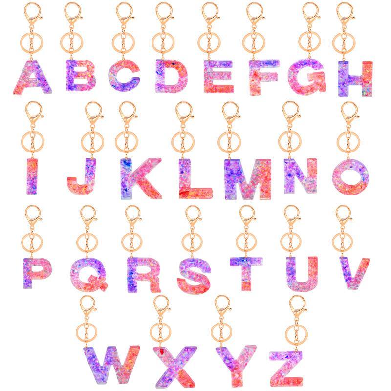 Chaveiro acrílico criativo 26 iniciais letra pingente chave lantejoulas chaveiros bolsa de carro pingente chave de anel de festa de festa