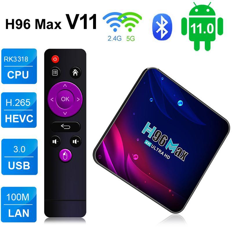 H96 ماكس V11 الروبوت 11.0 مربع التلفزيون الذكي RK3318 رباعية النواة 4 جيجابايت 64GB Android11 TVBox 5G WIFI 4K H.265 Media Player 2GB 16GB 4G32G مجموعة أعلى صناديق